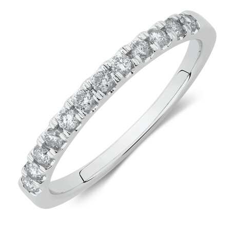 Wedding Band with 1/4 Carat TW of Diamonds in 14ct White Gold