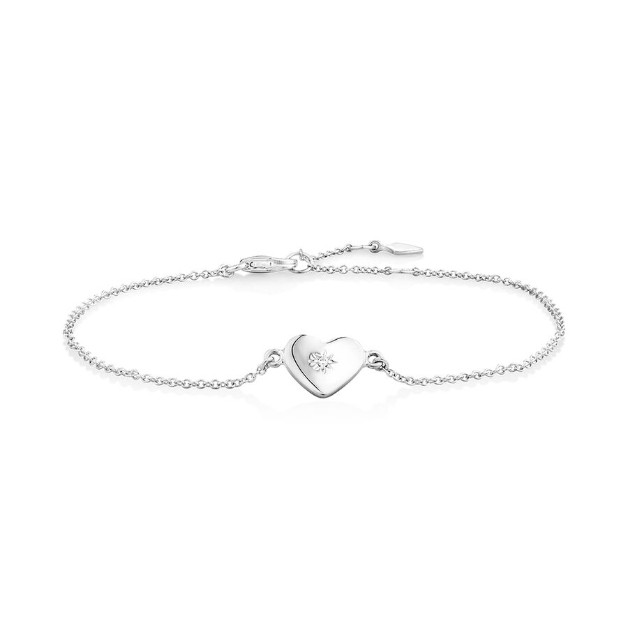 Heart Bracelet with Cubic Zirconia In Sterling Silver