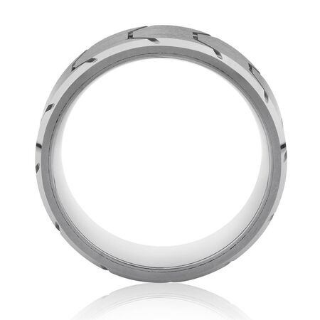 8mm Patterned Men's Ring in Grey Tungsten