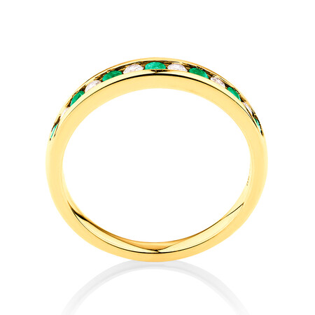 Ring with Natural Emerald & 0.15 Carat TW of Diamonds in 10ct Yellow Gold