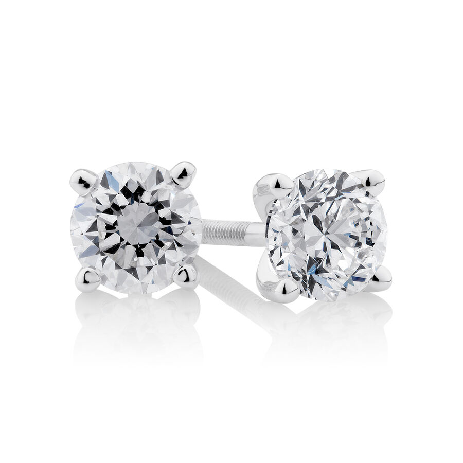 Certified Solitaire Stud Earrings with 1 Carat TW of Diamonds in 14ct White Gold