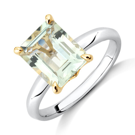 Green Amethyst Ring in Sterling Silver & 10ct Yellow Gold