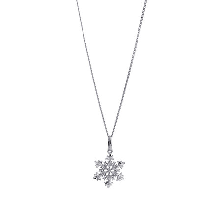 Snowflake Pendant in 10ct White Gold