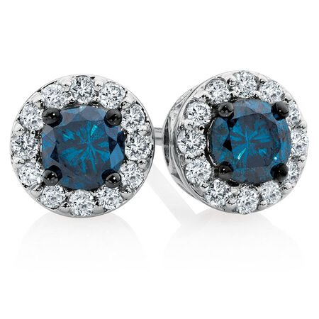 Stud Earrings with 1/2 Carat TW of White & Enhanced Blue Diamonds in 10ct White Gold