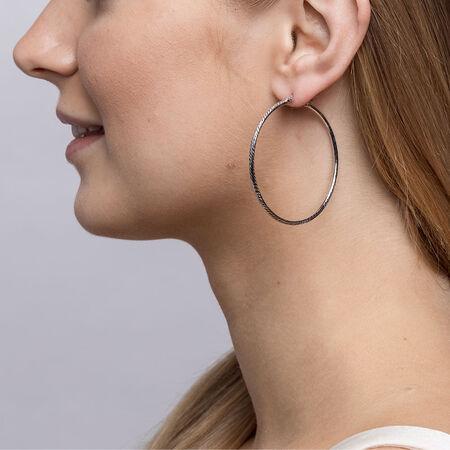 45mm Patterned Hoop Earrings in Sterling Silver