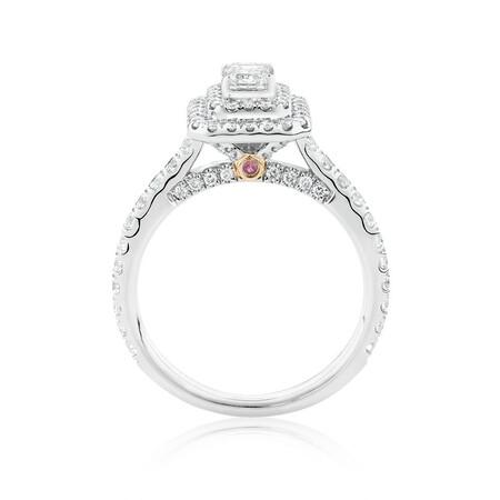 Sir Michael Hill Designer GrandArpeggio Engagement Ring with 1 1/5 Carat TW of Diamonds in 14ct White & Rose Gold