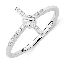 Cross Ring with Diamonds in Sterling Silver