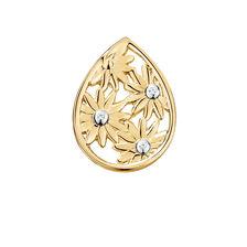 Diamond Set Daisy mini coin locket insert in 10ct Yellow Gold