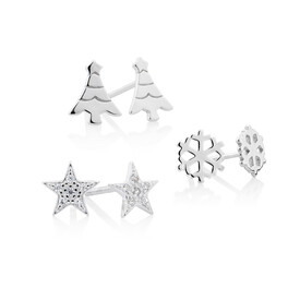 3 Pack Earring Set in Sterling Silver