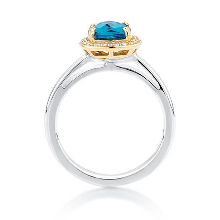Aqua & White Cubic Zirconia, Sterling Silver & 10ct Yellow Gold Stacker Ring
