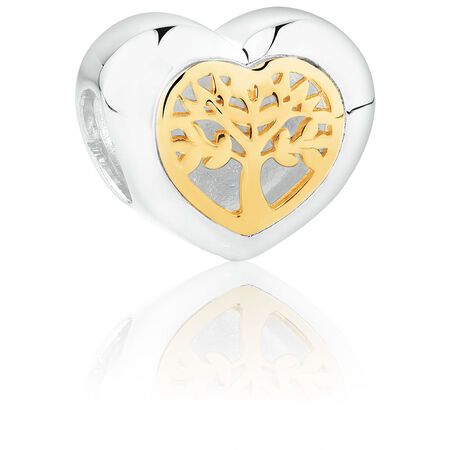 Filigree Tree of Life Heart Charm in Sterling Silver & 10ct Yellow Gold