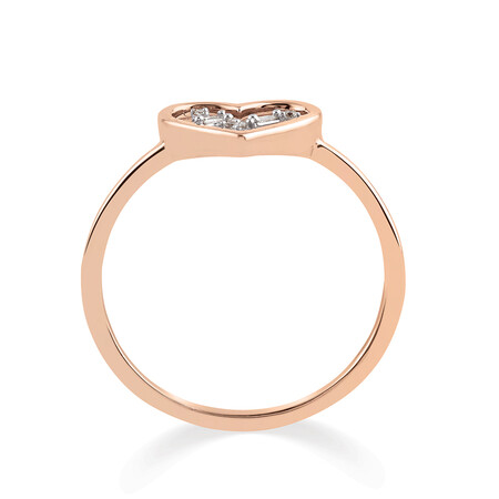 Heart Ring with Diamonds in 10ct Rose Gold