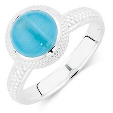 Aqua Cats Eye Stack Ring
