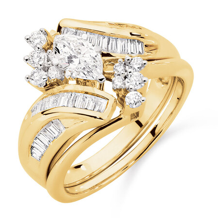 Bridal Set with 1 Carat TW of Diamonds in 14ct Yellow & White Gold
