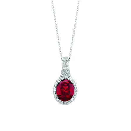 Pendant with Created Ruby & 0.15 Carat TW Diamonds in 10ct White Gold