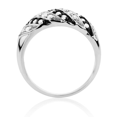Ring with 1/2 Carat TW of White & Silvermist Diamonds in Sterling Silver