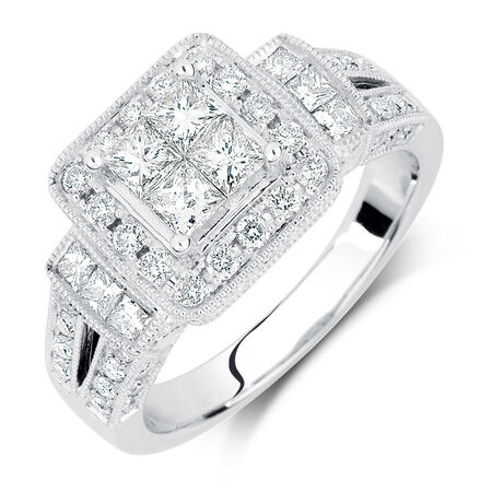 Engagement Ring with 1.37 Carat TW of Diamonds in 14ct White Gold