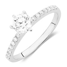 Evermore Colourless Engagement Ring with 0.86 Carat TW of Diamonds in Platinum