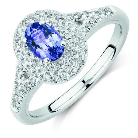 Michael Hill Designer Fashion Ring with Tanzanite & 1/4 Carat TW of Diamonds in 10ct White Gold
