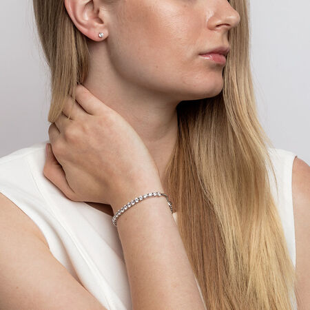 Tennis Bracelet & Stud Earring Set with Cubic Zirconia in Sterling Silver