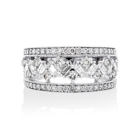 Three Row Ring with 1 Carat TW of Diamonds in 10ct White Gold
