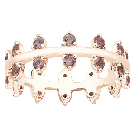 Zipper Ring with Pink Sapphire in 10ct Rose Gold