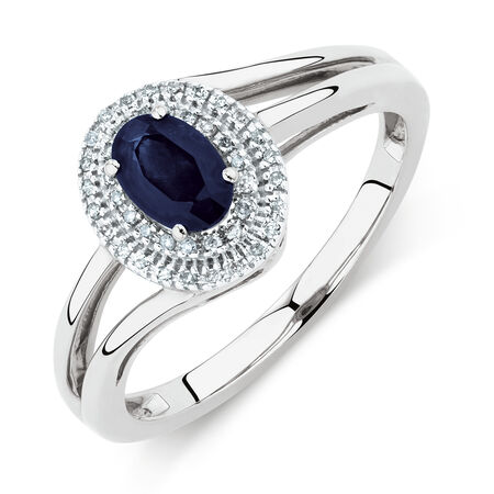 Ring with Blue Sapphire & Diamonds in 10ct White Gold