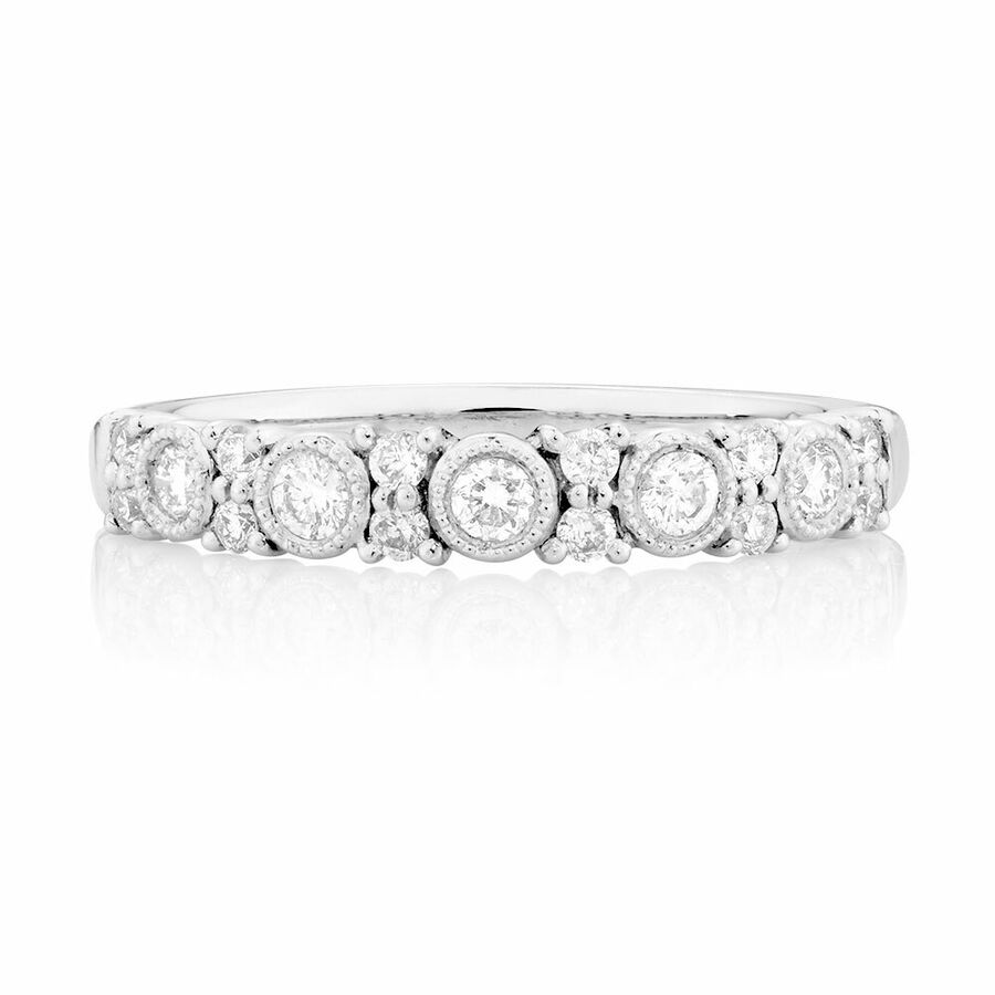 Wedding Band with 1/3 Carat TW of Diamonds in 10ct White Gold