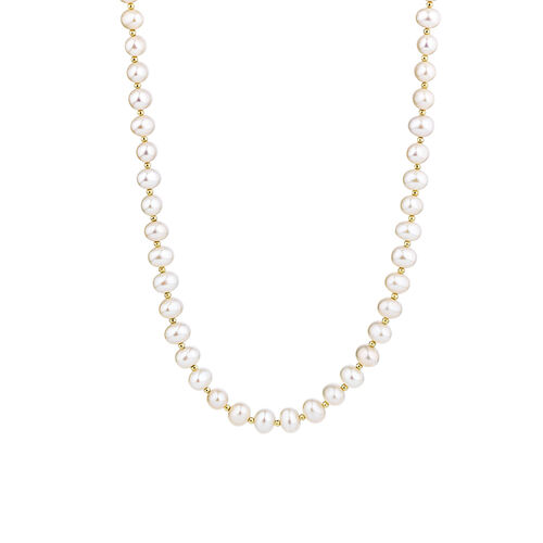 """42cm (16"""") Necklace with Cultured Freshwater Pearls in 10ct Yellow Gold"""