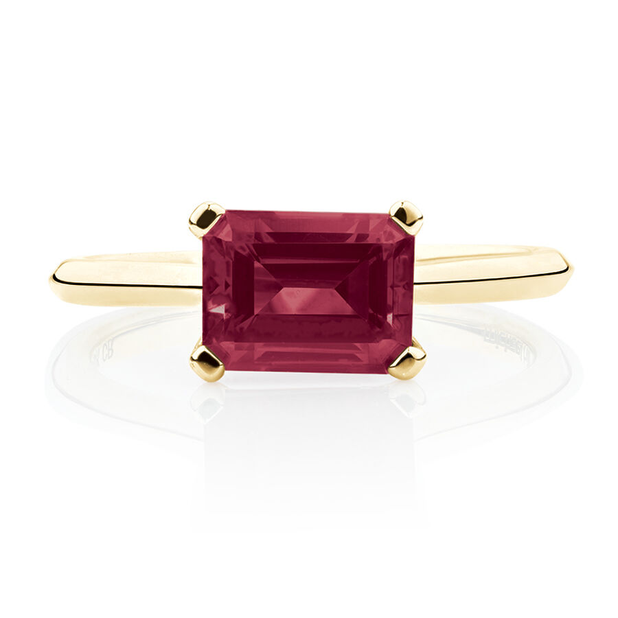 Emerald Cut Ring with Created Ruby in 10ct Yellow Gold