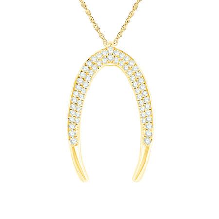 Medium Mark Hill Pendant with 0.29 Carat TW of Diamonds in 10ct Yellow Gold