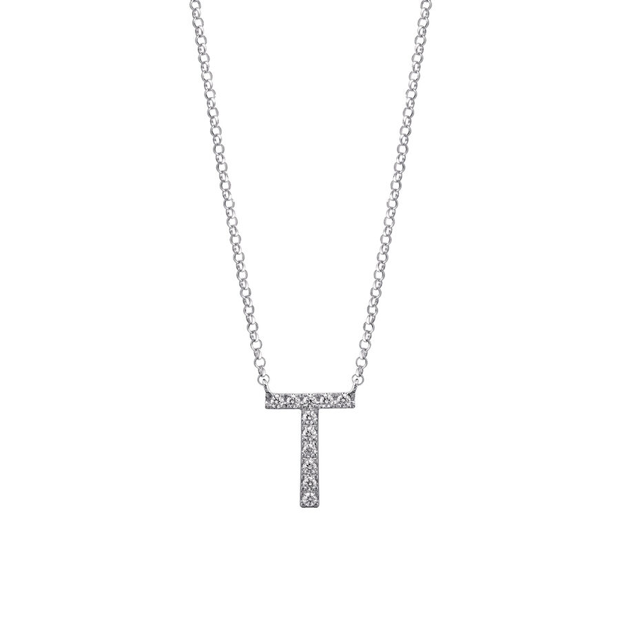 """""""T"""" Initial necklace with 0.10 Carat TW of Diamonds in 10ct White Gold"""
