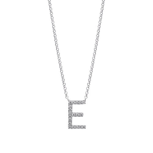 E' Initial necklace with 0.10 Carat TW of Diamonds in 10ct White Gold