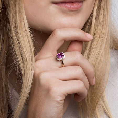 Ring with Created Mulberry Sapphire & Diamonds in 10ct Yellow Gold