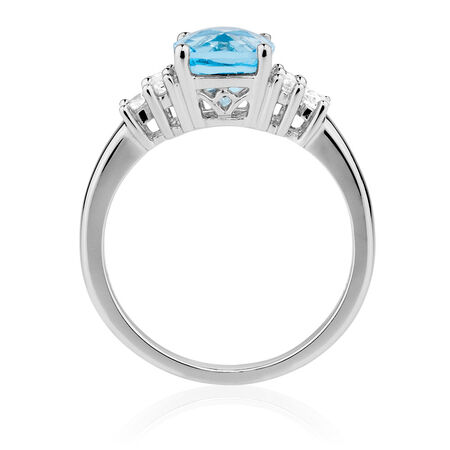 Ring with Blue Topaz & Created White Sapphires in Sterling Silver