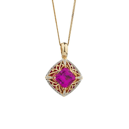 Online Exclusive - Enhancer Pendant with 0.15 Carat TW of Diamonds & Created Pink Sapphire in 10ct Yellow Gold