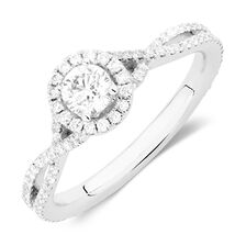 Sir Michael Hill Designer GrandAdagio Engagement Ring with 0.79 Carat TW of Diamonds in 14ct White Gold