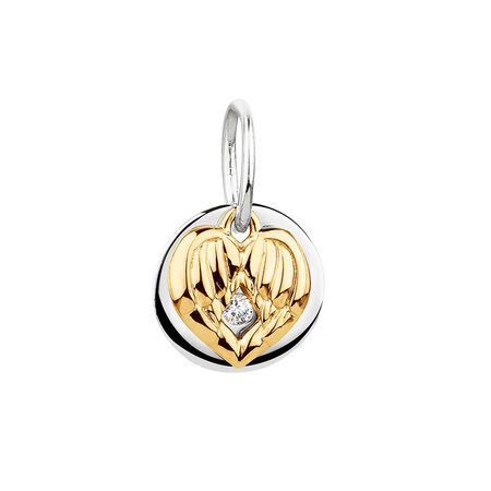 Angel Wings Mini Pendant with Cubic Zirconia in 10ct Yellow Gold & Sterling Silver
