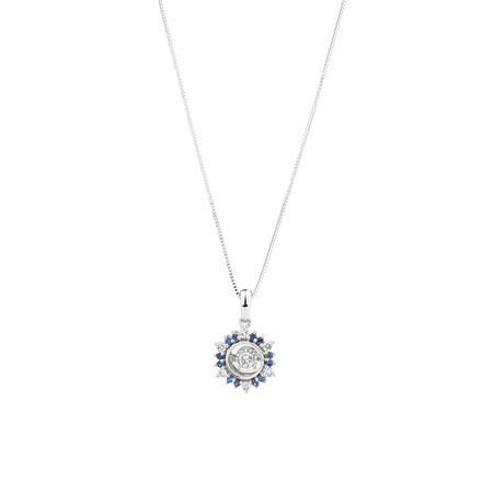 Pendant with Sapphire & 0.20 Carat TW of Diamonds in 10ct White Gold