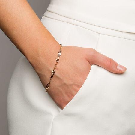 "19cm (7.5"") Twist Bracelet in 10ct Yellow, White & Rose Gold"