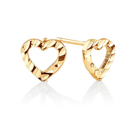 Heart Stud Earrings in 10ct Yellow Gold