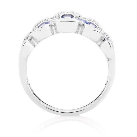 Ring with Tanzanite & Diamonds in 10ct White Gold