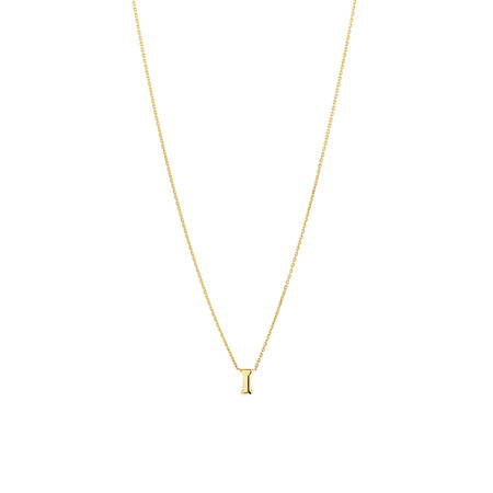 """""""I"""" Initial Necklace in 10ct Yellow Gold"""