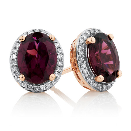 Earrings with Rhodolite Garnet and Diamonds in 10ct Rose Gold