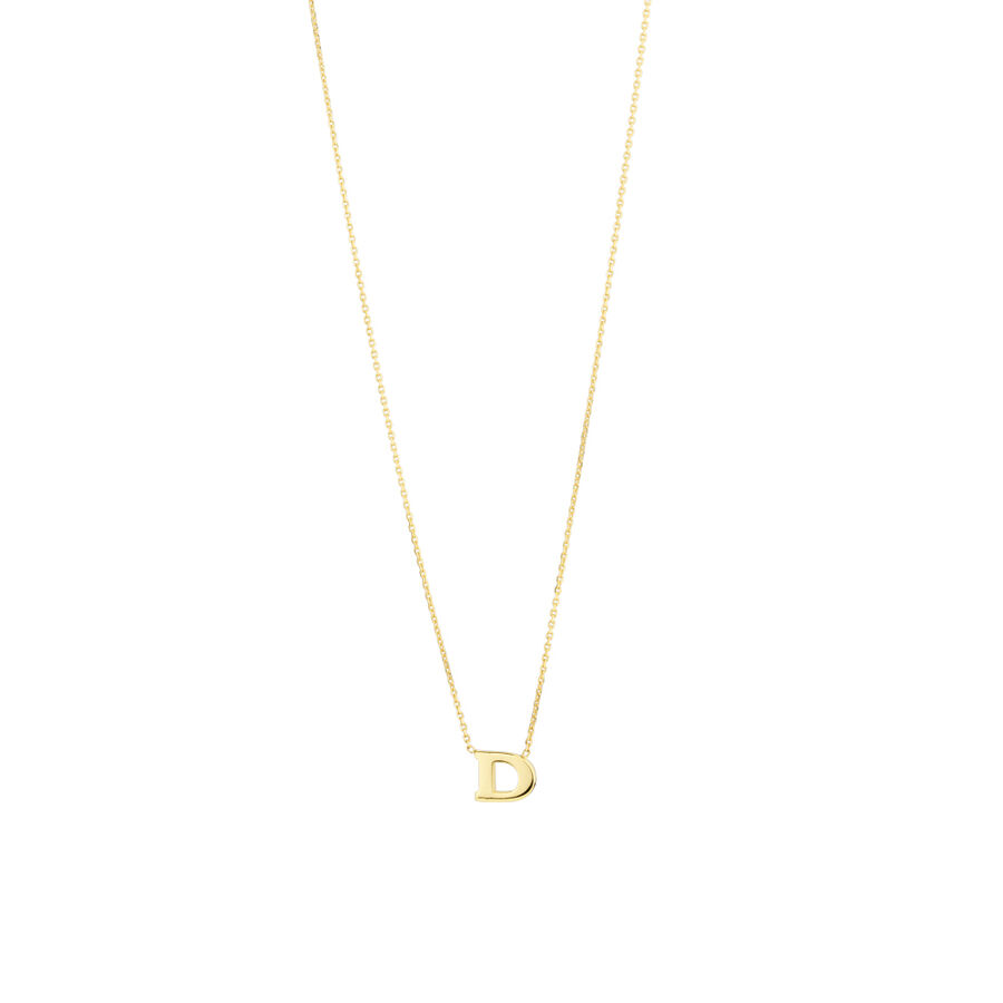 """""""D"""" Initial Necklace in 10ct Yellow Gold"""