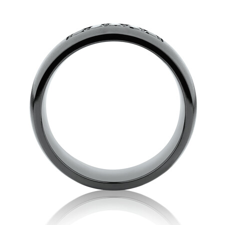 8mm Black Titanium Ring with Black Diamonds
