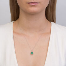 Michael Hill Designer Pendant with Emerald & 0.20 Carat TW of Diamonds in 14ct White & Rose Gold