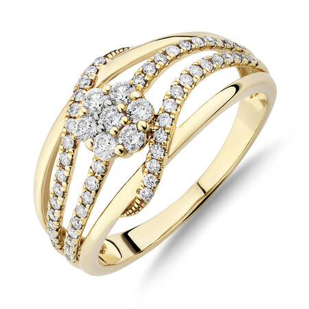 Cluster Twist Ring With 0.50 Carat TW of Diamonds In 10ct Yellow Gold