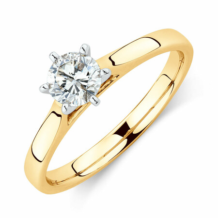 Solitaire Engagement Ring With a 1/2 Carat TW Diamond in 14ct Yellow & White Gold