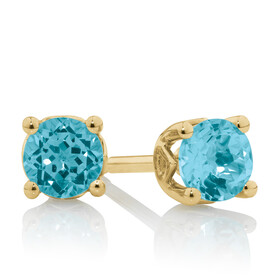 4mm Stud Earrings with Topaz in 10ct Yellow Gold
